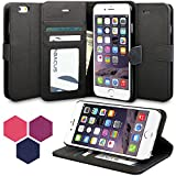 iPhone 6 Plus Case, Abacus24-7 iPhone 6 Plus Wallet Case, Leather Apple 6 Plus Flip Cover with Card Holder and Kickstand - Black Flip Case for Apple iPhone 6 Plus Phone