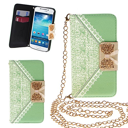 Xtra-Funky Exclusive Pu Leather Lace Pattern & Golden Bow Flip Case Cover Purse Handbag With Credit Card And Money Slots & Detable Golden Chain For Samsung Galaxy S4 (I9500) - Green