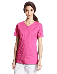 Cherokee Women's Workwear Scrubs Core Stretch Jr. Fit V-Neck Top, Shocking Pink, 3X-Large