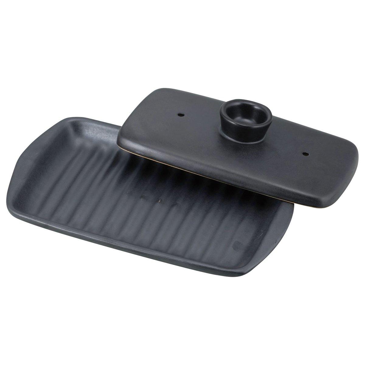 【電子レンジで発熱するお皿!】 焼けるんプレート 両面焼き角型 ブラック YR-6018