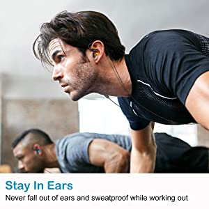 ROVKING Running Headphones Wired, Over Ear Sweatproof Sport Earbuds for Gym Workout Exercise Jogging, in Ear Earphones w Microphone for Cell Phone MP3