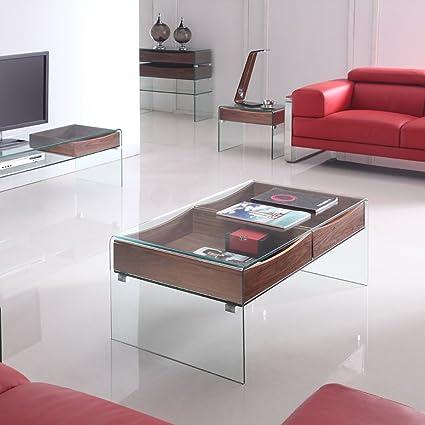Table basse design Glasswood en verre et bois