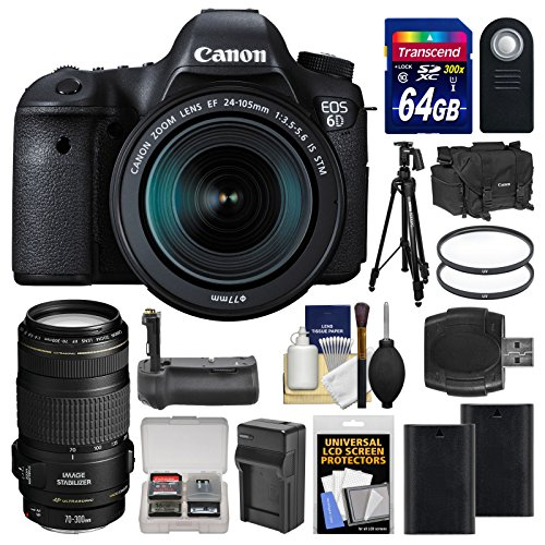Canon EOS 6D Digital SLR Camera Body with EF 24-105mm IS STM  &  70-300mm IS Lens + 64GB Card + Case + 2 Batteries  &  Charger + Grip + Tripod Kit