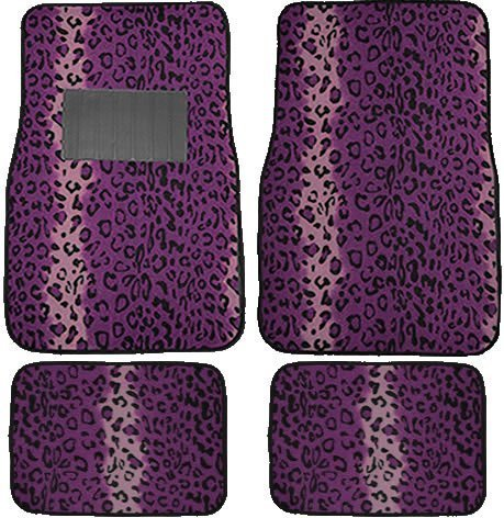 A Set Of 4 Universal Fit Animal Print Carpet Floor Mats