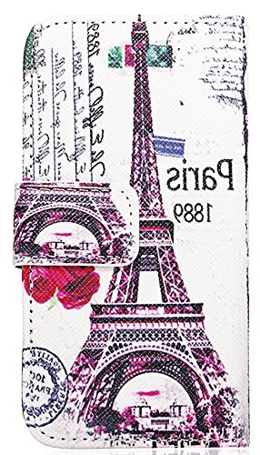 Mylife White, Magenta And Black Parris - Contemporary Design - Textured Koskin Faux Leather (Card And Id Holder + Magnetic Detachable Closing) Slim Wallet For Iphone 5/5S (5G) 5Th Generation Smartphone By Apple (External Rugged Synthetic Leather With Magn