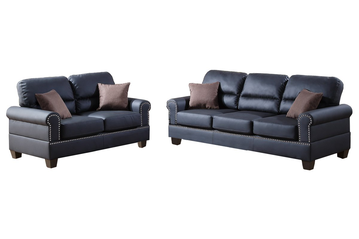 Poundex F7877 Bobkona Shelton Bonded Leather 2 Piece Sofa and Loveseat Set - Black