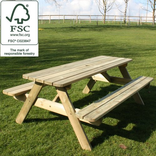 Wooden Garden 1800mm Picnic Table / Bench - Pine 100% Fsc Certified Picture