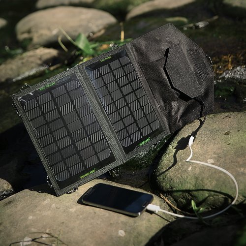 Poweradd™ 7W Foldable Solar Panel Portable Solar Charger for iPhones, Samsung Galaxy Phones, other Smartphones, GPS, Bluetooth Speakers, Gopro Cameras and More