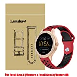 for Fossil Q Venture Band, Lamshaw Silicone Soft Band with Ventilation Holes Replacement Straps for GEN 3 SMARTWATCH/Fossil Gen 4 Q Venture HR - Q Venture (Silicone_Red&Black) (Color: Silicone_Red&Black)