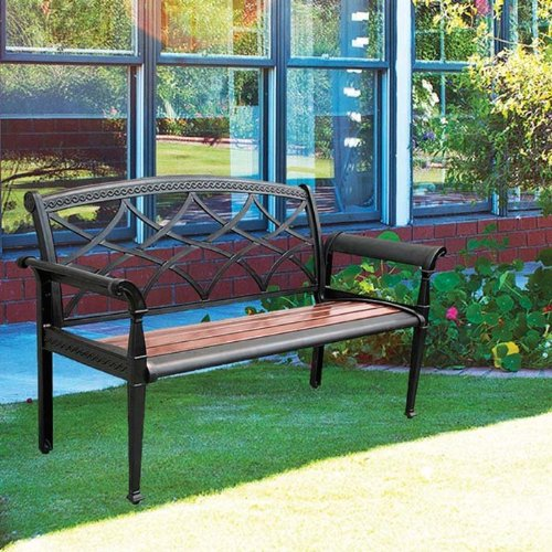Innova C50701 Aluminum Heirloom Cherry Versa Slat Bench, Black