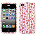 IPHONE 4 4S AT&t SPRINT VERIZON C-SPIRE PINK CHERRIES PATTERN LIGHT PURPLE STRIPE SNAP ON COVER CASE - PERFECT FIT