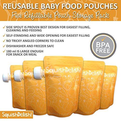 Squish Delish Recipes : Squish Delish Large 6.7 oz Reusable Baby Food Pouches ~ FIVE Pouch Pack with Free Recipe E-book ...