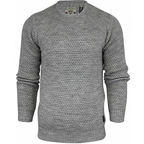 """Brave Soul da uomo di alta qualità """"cavo Chunky Knit maglione pullover felpa invernale Light Grey X-Large"""