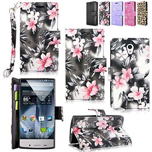 Sharp Aquos Crystal - Cellularvilla Pu Leather Wallet Card Flip Open Pocket Case Cover Pouch For Sharp Aquos Crystal 306SH (Black Pink Flower) (Sharp Crystal Phone Case compare prices)