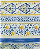 "Mirabello Tavola Italiana Luxury Cotton 63"" X 90"" Tablecloth ""Sorrento"" Made in Italy White, Blue, and Yellow By Mirabello"