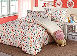 Beddinginn® Colorful Animals Pattern Kids Bedding Set Organic Cotton 4-piece Kids Duvet Cover Sets (Full)