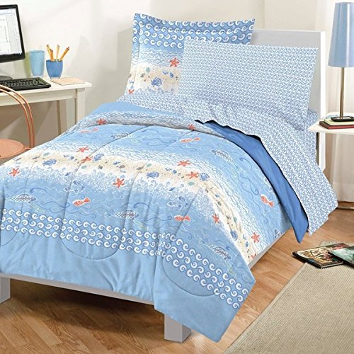 Twin Size Beach Themed Bedding 7-piece Bed in a Bag with Sheet Set, Ocean Sea Life Theme With Starfish, Fish and Seashells In Shades Of Blue, Orange And White (Beach Theme Sheets compare prices)