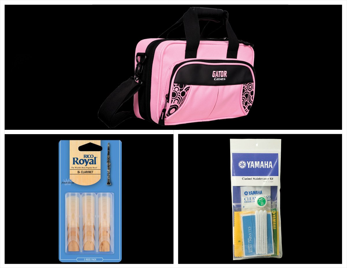 Alto Music Back To School Clarinet Bundle with Pink Gator Case and 3.0 Reeds Also Includes a Yamaha Clarinet Maintenance Cleaning Kit and Rico Royal 3 Pack of Clarinet Reeds Siz
