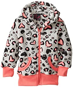 Girls Rule Little Girls' Cheetah Heart Print Zipup Hoodie, Coral, 6X