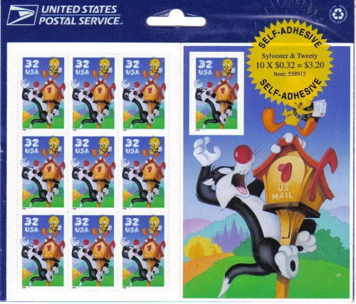 Sylvester and Tweety Full Pane of (10) 32 Cent Postage Stamps - 1