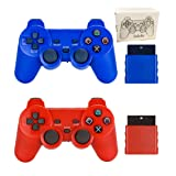 Saloke Wireless Gaming Controller for Ps2 Double Shock (Rad1 and Blue1) (Color: Rad1 and Blue1)