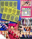 Nail Art Stencil & Decoration Kit & x2665; Colorful 3D Decals & x2665; Heart-Pattern Stencils & 10pcs of Nail Tape Guides