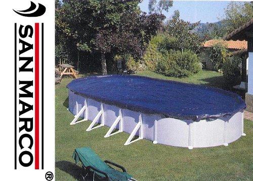 Gre CIPROV611 - Copertura invernale per piscina  ovale 610x375 o a forma di otto 500x340  - 100 g/m