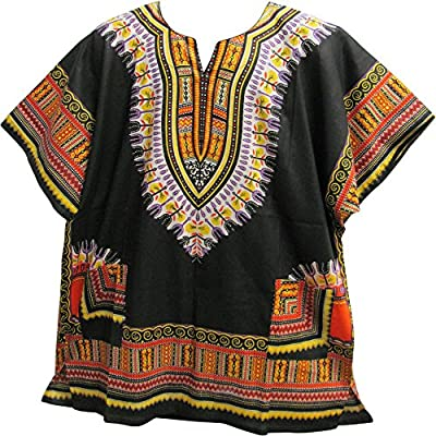 Unisex African Ethnic Dashiki Two Pocket Indian Cotton Tunic Shirt