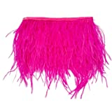 wanjin Ostrich Feathers Trims Fringe with Satin Ribbon Tape for Dress Sewing Crafts Costumes Decoration Pack of 2 Yards (fuchsia) (Color: 33#-fuchsia)