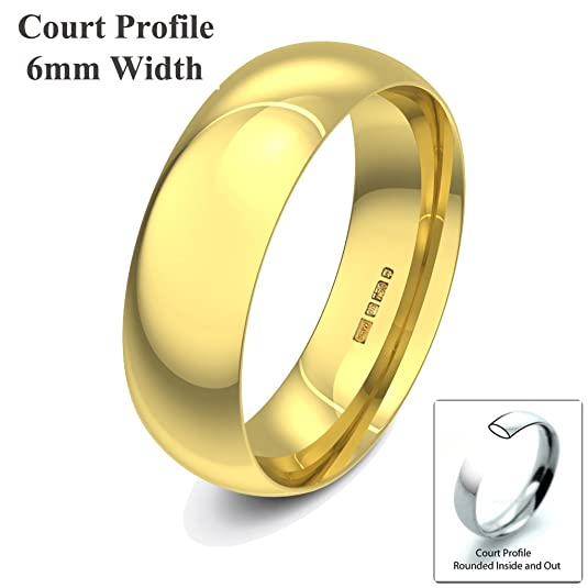 Xzara Jewellery - 9ct Yellow 6mm Court Profile Hallmarked Ladies/Gents 4.7 Grams Wedding Ring Band