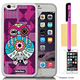Oksobuy® Apple Iphone 6(4.7 Inch) Model Apple Iphone 6 Case High Quality Fashion Luxury Designer Fashion Background Pattern Design Soft Silicone High Impact Case Cover Skin Protection for Apple Iphone 6(4.7 Inch) with Screen Protector and Stylus (Transparent with Purple and Cute OWL)