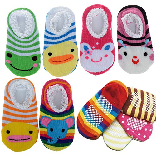 Cren® 5 Pairs Baby Toddler Anti Slip Skid Socks For Age 0-2, Length 9-15cm/3.54-5.9inch