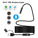 YSBER Ear Endoscope Camera, Waterproof HD Borescope Inspection Camera Visual Earpick Tool with 6 Adjustable Led for Android Micro, Type c, USB PC (Black) (Color: Black)
