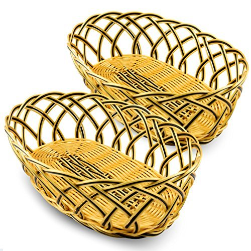 Otalio Premium Bread Basket - Set of 2 - 10 Inch Bowls - Perfect for Serving Fruit, French Breads and Rolls - Professional Restaurant Quality Presentation for Kitchen and Dining - Lifetime Guarantee (Lined Bread Baskets compare prices)