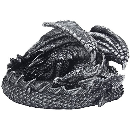 Decorative Metallic Look Mythical Dragon Ashtray with Celtic Symbol or Medieval Figurine Sculptures As Gothic Home Decor and Barware Smoking Receptacles & Fantasy Gifts for Smokers