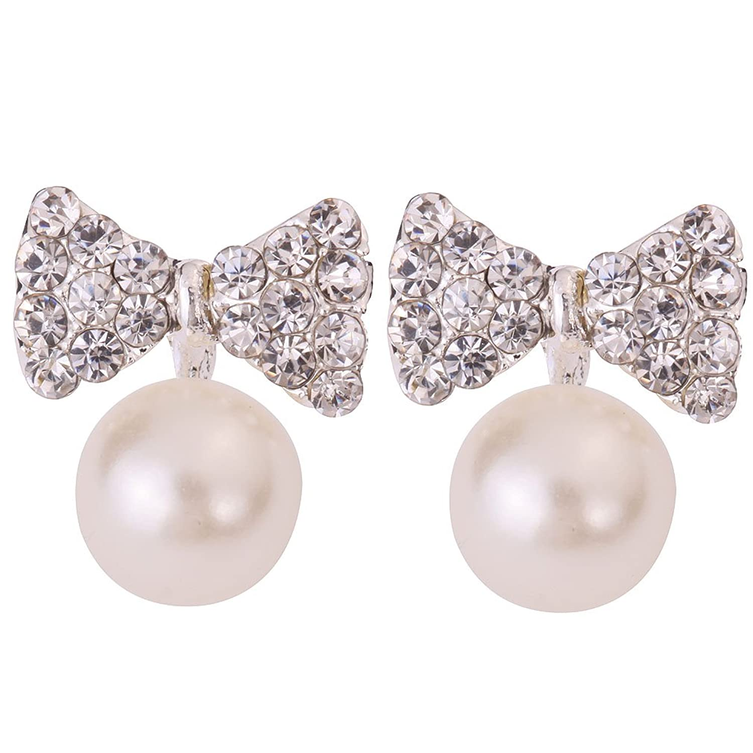 Yazilind Jewelry Pretty Bow Carve Full Sparkling Crystal Silver Plated Faux Pearl Mini Stud Earrings