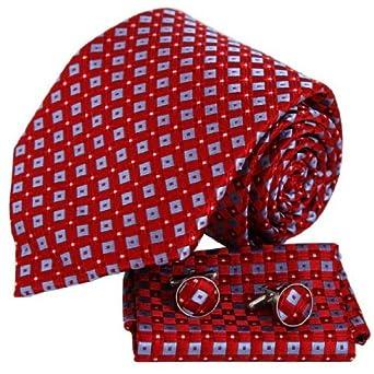 H6007 Red Checkerd Shop Presents Idea Silk Ties Cufflinks Hanky Gift Ideas Set 3PT By Y&G