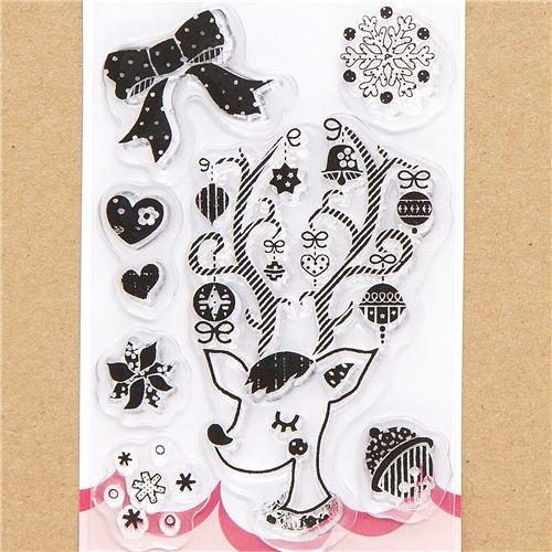 cute Christmas gel stamps deer snowflake heart
