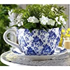 Blue Floral China Tea Cup and Saucer Planter