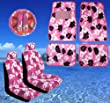 11pc Pink Hawaiian Print Car Mats Seat Steering Wheel Cover Set
