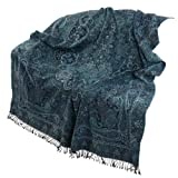 High Quality Wool, Paisley Designs Throw, Earthy Blue-Green,223 x 142 cmby ShalinIndia