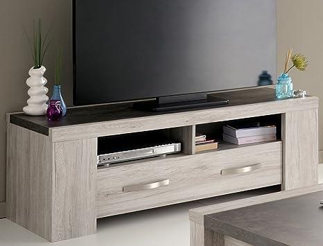 Lowboard Marten 44 Grau Steinoptik TV-Möbel TV-Schrank Wohnzimmer Sideboard 135x48x47cm