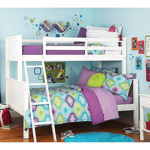 White Bunk Bed Twin Over Full 473 front