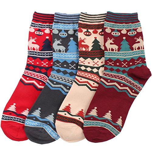 Mb Women'S 4 Pairs Multi Color Christmas Casual Warm Cotton Fashion Crew Socks