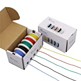 StrivedayTM 26 AWG Flexible Silicone Wire Electric wire 26 gauge Coper Hook Up Wire 300V Cables electronic stranded wire cable electrics DIY BOX-1 (Color: Silicone wire Box1=Red+Blue+Green+Yellow+Black, Tamaño: 26AWG)