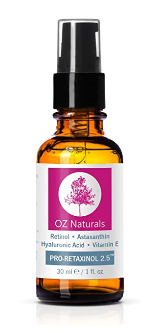 OZ Naturals Retinol Serum - The BEST Anti Wrinkle, Anti Aging Serum For Your Face Contains Clinical Strength 2.5% Retinol + Astaxanthin + Vitamin E. Get The Dramatic Results You've Been Looking For!