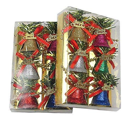 R-STYLE カラフルに装飾 クリスマス ツリー 飾り ベル オーナメント 12個 セット (ベル)