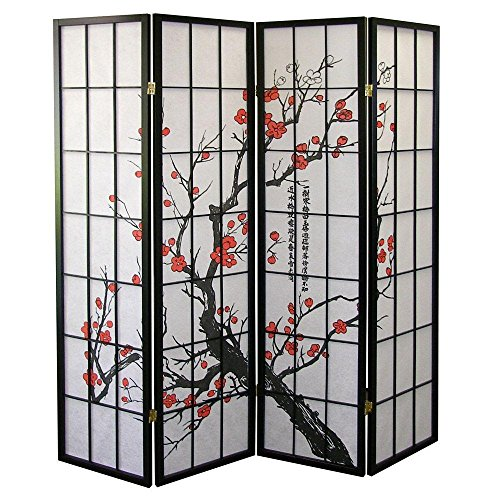 Sale!! Major-Q Decoration Japanese Oriental Style Room Screen Divider (Plum-Blossom-4 Panels)