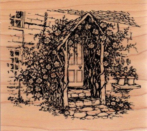 Cottage Rose Porch Door Wood Mounted Rubber Stamp (K2886)