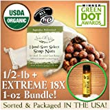 NaturOli Soap Nuts / Soap Berries - SALE! - 1/2-Lb USDA ORGANIC   18X BONUS! Select Seedless. Wash Bag, Tote Bag, 8-pg info. Organic Laundry Soap / Natural Cleaner. Processed in USA!